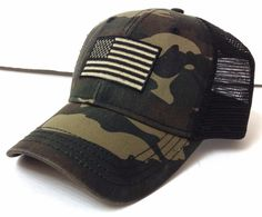 New AMERICAN FLAG CURVED-BILL TRUCKER HAT Green&Brown Camouflage/Camo Men/Women #Unbranded #Trucker