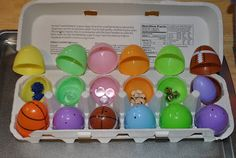 Here's a fun sensory activity that you can play any time of year, but would be especially fun at Easter time: Sound Eggs! Fill each egg with a different object to make different sounds when you shake them. Fill your eggs in pairs so you can play a matching game!