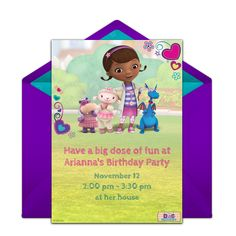 Customizable, free Doc McStuffins online invitations. Easy to personalize and send for a Doc McStuffins birthday party. #punchbowl