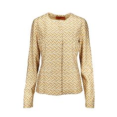 Missoni is famous for their brightly knitted patterns which have become synonymous with the brand. Their creations are the go-to pieces for jet-setters and busy women who have no time for ironing and steaming, as they are wrinkle resistant! This structured jacket is professional without being stuffy, featuring a zigzag pattern in shades of mustard, white, black and laced with shimmery thread. It has a looser fit, 2 side patch pockets and closes with concealed front buttons.  | Original…