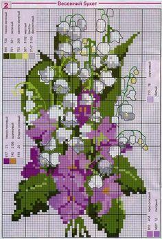 Ricami, lavori e schemi a puntocroce gratuiti: Schemi a punto croce- fiori primaverili di mille colori