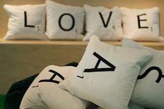 Scrabble tile pillows. Reading corner, y/y??