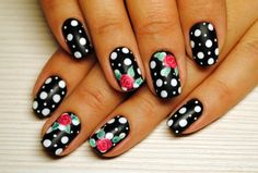Black and white nail ideas, Black and white nails ideas, Black nails ideas, Custom nails, flower nail art, Flower nails ideas, Flowers on nails, Nails ideas 2016