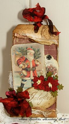 .make christmas collage with kiddies using vintage printables, scrapbook papers, tea staining.