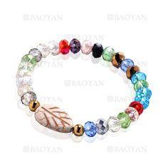 pulsera de cristal color mixta brillo con bola dorado acero para mujer -SSBTG924392