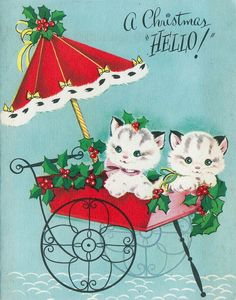 Vintage Christmas Card kittens in holly cart