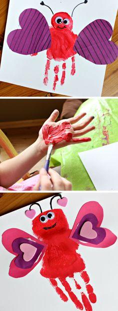 Valentines day art for preschoolers Handprint Love Bug Valentine Craft Easy Valentine Crafts for Preschoolers to Make Preschool Valentine Crafts, Kinder Valentines, Daycare Crafts, Valentines For Kids, Toddler Crafts, Saint Valentine, Crafts For Kids To Make, Crafts For Teens, Easy Crafts