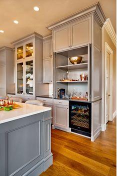 Kitchen Bar Cabinet. Kitchen bar cabinet design. Beautiful gray kitchen with bar cabinet and beverage fridge. #Kitchen #Bar #Cabinet