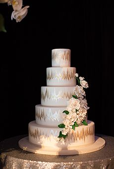 Metallic Ikat Five-Tiered Wedding Cake   Wedding Cake