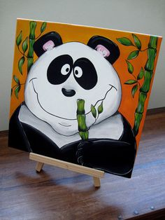 Giant Panda Juan Acrylics on canvas hand painted by freaksapp, $49.00
