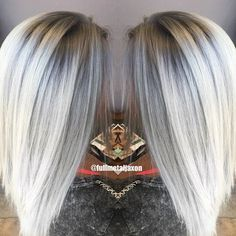 Second time lightening Erica  Using @keunenamerica Magic Blonde lightener & @olaplex  Then soft shadow root and icy silver tones using @kenraprofessional Demi's 8SM & 9VM at the base and 10V & 10SM on the midshaft to ends  Contact  jackie@fullmetaljaxon.com Website: www.fullmetaljaxon.com