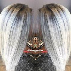Second time lightening Erica Using @keunenamerica Magic Blonde lightener & @olaplex Then soft shadow root and icy silver tones using @kenraprofessional Demi's 8SM & 9VM at the base and 10V & 10SM on the midshaft to ends Contact jackie@fullmetaljaxon.com Website: www.fullmetaljaxon.com
