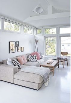 Sofa // ☆neutral living room ~ white walls & floor, beige couch, minimalist gallery wall + lots of light Home Decor Inspiration, Home Living Room, Interior, Home, Living Room White, House Interior, Home Interior Design, Interior Design, Home And Living
