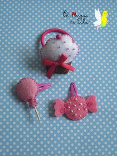 Coletero cupcake en fieltro y horquillas caramelo y piruleta | cupcake, candy, lollipop