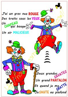blog comptine 1 Circus Activities, Theme Carnaval, French Poems, Black And White Photo Wall, Cute Clown, French Education, Teaching Schools, French Lessons, Teaching French
