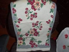 Vintage 50's Towel Kitchen Cherries flowers deep red or burgendy with white flor