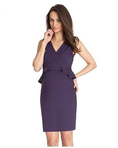 Perfect for: An elegant evening event. The peplum cut of this Seraphine Maternity Dress ($85) is surprisingly flattering for expectant moms in their second or early third trimesters. The deep eggplant color is a great alternative to basic black.  Wear