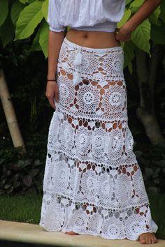Crochet swing maxi skirt white crochet maxi skirt by EllennJames