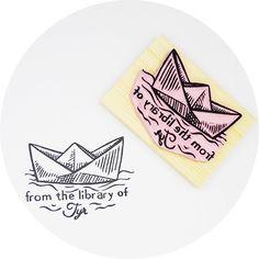 Origami Boat Ex Libris Stamp, via Flickr.