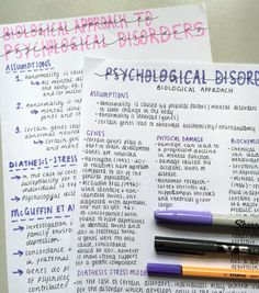"""incipient-lustre: """" Psychology revision on psychological disorders and the biological approach! Psychology Revision, Psychology A Level, Motivation Psychology, Psychology Studies, Study Motivation, School Organization Notes, Study Organization, College Notes, School Notes"""