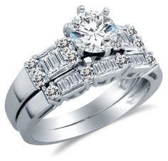 14K White Gold Cubic Zirconia Engagement Ring with Matching Wedding Band (2.0cttw. , 1.0Ct. Center Stone) Sonia Jewels. $460.00