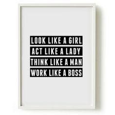 A4 Typography Poster, girly print, bedroom decor - Look like a girl, act like a lady...