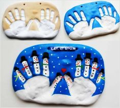 We've put together a fantastic collection of hand and footprint art for you to make. You'll love the Salt Dough Snowman Handprint Art and the Reindeer one too! Christmas Crafts For Kids To Make, Diy For Kids, Holiday Crafts, Christmas Diy, Christmas Ornaments, Simple Christmas, Christmas Decorations, Footprint Art, Printable Christmas Cards