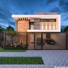 The exterior is the face of the house that everyone will see in the first part. Take a look at the world's most beautiful modern homes and find Modern Villa Design, Modern Exterior House Designs, Dream House Exterior, Exterior Design, Home Design, Modern House Facades, Modern Architecture House, Architecture Design, House Front Design