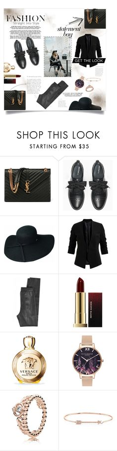 """""""Get the look!"""" by martha-karag ❤ liked on Polyvore featuring Yves Saint Laurent, Max&Co., Calypso St. Barth, Kevyn Aucoin, Versace, Olivia Burton, Pandora and Anne Sisteron"""