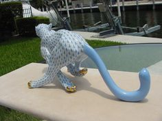 Herend Large Porcelain Running Cheetah Blue Fishnet from Jungle Collection 15656 | eBay
