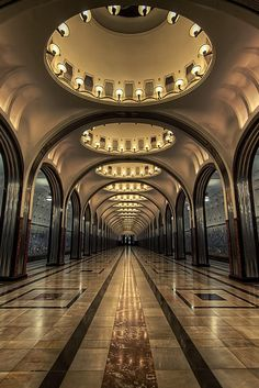 Mayakovskaya Metro station in Moscow, RUSSIA.                         by Michael Murphy. http://reversehomesickness.com/europe/moscow-metro-system/  #moscow #russia