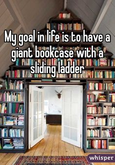 """Allison Pearson saved to goal in life is to have a giant bookcase with a sliding ladder"""" about life lessons, sad nepali, wall stickers australia. I Love Books, Good Books, Books To Read, My Books, My Goal In Life, Life Goals, Book Memes, Book Quotes, Sad Quotes"""