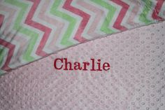 Personalized Premium Minky Dot Blanket in by EmbroideryMark  www.embroiderymark.etsy.com