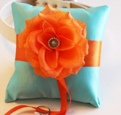 Aqua blue Orange Ring Pillow Ring Pillow attach to by LADogStore