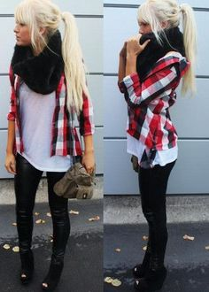 Pleather Leggings with White T Shirt and Flannel Shirt