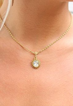 1990's+Clear+Gem+Necklace