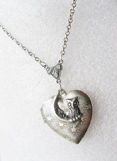 Silver Heart Locket Necklace  ORIGINAL Silver Night by birdzNbeez
