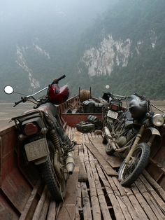 Minsk motorcycles on Song Da (Black River), Vietnam.