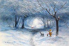 Winnie the Pooh Winter Walk Fine Art Giclee on Canvas Disney, Peter Ellenshaw Owl Winnie The Pooh, Pooh Bear, Tigger, Eeyore, Disney Kunst, Arte Disney, Westminster Mall, Moma, 100 Acre Wood