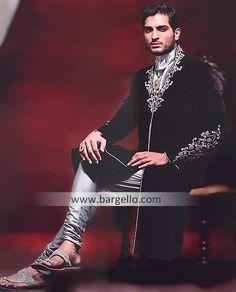 M689 Mens Sherwani Florida USA, Designer Wedding Sherwani California USA, Embroidered Black Sherwani NY Men