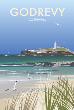 Godrevy Coastal Art Print by Dave Thompson… Posters Uk, Railway Posters, Illustrations And Posters, Poster Prints, Art Prints, British Travel, British Seaside, Ria Formosa, Tourism Poster