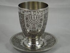 JUDAICA - PERSIAN silver KIDDUSH CUP & TRAY, c1960, 254gm