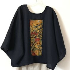oversized deep blue linen top with vintage kimono panel floral print ready to wear / free size linen top / plus size fit linen kimono top note: Each panel is t Batik Fashion, Fashion Sewing, Sewing Clothes, Diy Clothes, Clothes For Women, Vintage Kimono, African Fashion Dresses, Fashion Outfits, Womens Fashion