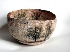Art Bowl by the wonderful and amazing Kim Henkle! Inspiration for tea bag art. Paper Mache Paste, Paper Mache Bowls, Paper Mache Clay, Paper Bowls, Paper Mache Crafts, Used Tea Bags, Tea Bag Art, Origami Paper Art, Clay Bowl