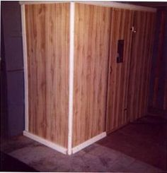 Basement closet turned to near infrared sauna room for Cost to build a sauna
