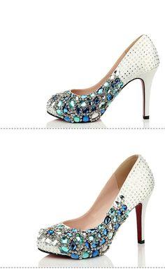 Fashion Handmade Rhinestone High Heels Pointed Toe Crystal Wedding Bridal  Shoes baf5fef0be7c