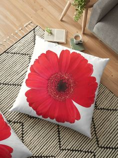 A bold red gerbera with a missing petal or two. The transparent background lets the flower stand out with no distractions. Throw Pillows Bed, Bed Throws, Floor Pillows, Decorative Throw Pillows, Cushion Covers, Duvet Covers, Floral Cushions, Flower Stands, Block Wall