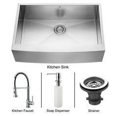 Vigo Farmhouse Stainless Steel Kitchen Sink Dispenser/Faucet   Overstock.com Shopping - Big Discounts on Vigo Sink & Faucet Sets