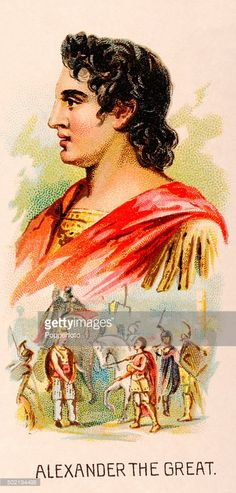 A vintage cigarette card featuring <a gi-track='captionPersonalityLinkClicked' href=/galleries/search?phrase=Alexander+the+Great&family=editorial&specificpeople=78971 ng-click='$event.stopPropagation()'>Alexander the Great</a>, king of Macedonia and renowned warrior and general, published in New York City, circa 1889.