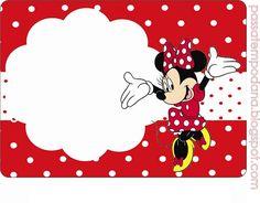 Etiquetas de Minnie- Invitaciones de Cumpleaños de Minnie roja- Stickers de Minnie roja - Marcos de Minnie -Imprimibles Minnie roja lunares blancos